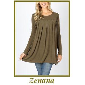 Zenana Soft Pleated Tunic In Olive